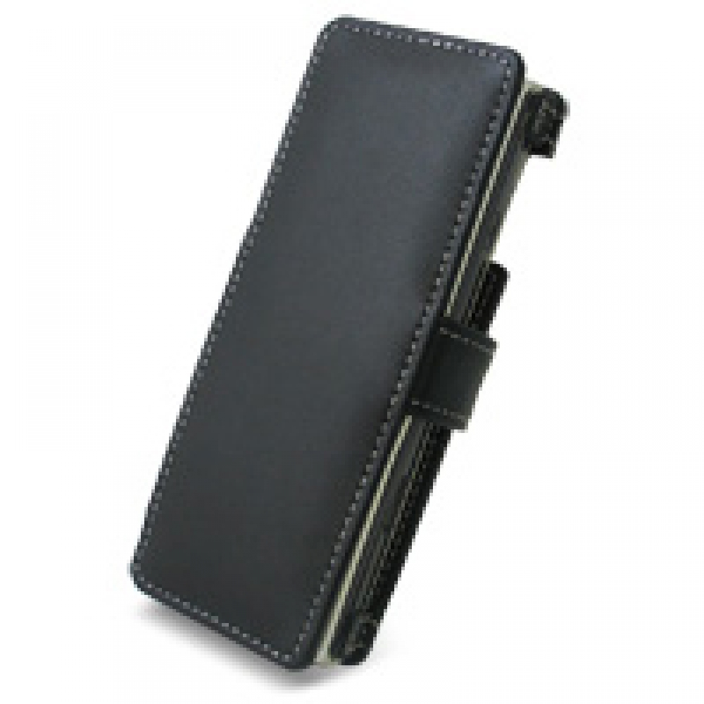 Sharp Advanced W-Zero3 Leather Flip Cover (Black) PDair Premium Hadmade Genuine Leather Protective Case Sleeve Wallet